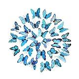 Trada 30 Schmetterling Wandaufkleber Kühlschrank, 3D DIY Aufkleber Wandaufkleber Home Decor Regenbogen Schmetterling Aufkleber Room Decor Wandaufkleber Wallsticker DIY Decor (Blau)