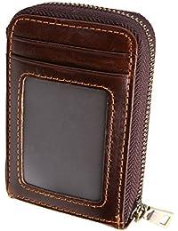 ISuperb RFID Blocking Card Holder Wallet Vintage Genuine Leather Card Purse Zipper Closure Oil Wax Credit Card...