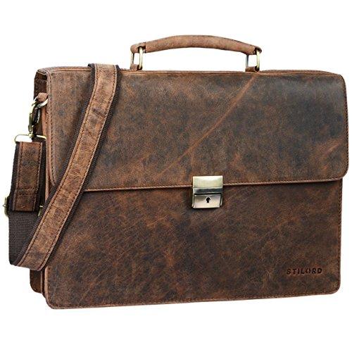 STILORD \'Robert\' Aktentasche Businesstasche 15,6 Zoll Laptopfach passend für große DIN A4 Ordner mit Schloss Rinds Leder, Farbe:Sepia - braun