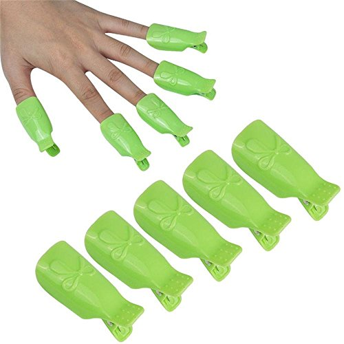 Glield 10pc Plastique Nail Art Tremper Capuchon Clip Ongles Gel UV Pellicule Outil MJ02 Vert
