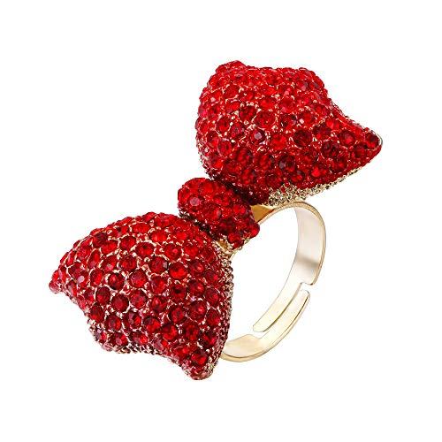 Flyonce österreichischen kristall schöne niedliche Band Bowknot Manschette Ring rot Gold-ton für mädchen Damen