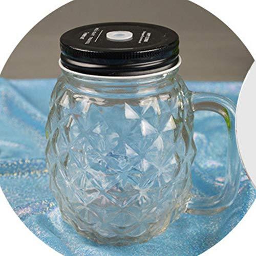 Erjialiu 500ml Ananas Sippy Cup Mit Deckel Kaltes Getränk Saft Cup Große Kapazität Glas Cup,klar,500 ml - Saft Sippy Cup