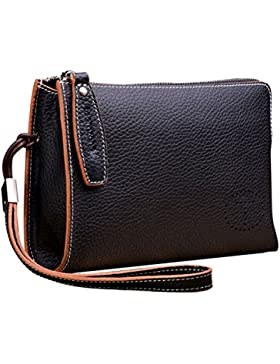 Teemzone Multi-Tasche Handgelenktasche Herren Clutch Rindleder mit Trageschlaufe Portemonnaie Damen Groß