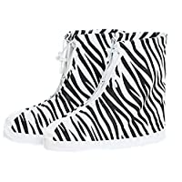 Waterproof Shoe Cover Ladies Zebra Pattern Rain Boots Cover Non-Slip Thick Wear