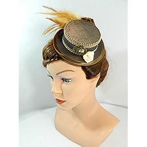 Mini Zylinder grau schwarz Minihat Damenhut Fascinator Hut