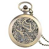 XY&DQ Reloj de Bolsillo Hermosa urraca Relojes Collar para Mujer Damas Chicas Amigos Flor Caso Cuarzo Fino Bolsillo Reloj de enfermería Relojes Colgante, Bronce