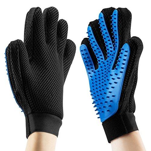 OMORC Handschuh Bürste massagio 2Pack deShedding & massagewerkzeug für Pet Hund Pflege Bad Dusche mit Premium Silikon, Material für Hunde, schwarz