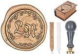 Siegel-Set Beaujolaise Stempel Marmorgriff, 2 Buchstaben Initialen, Siegelwachs, Dekobox