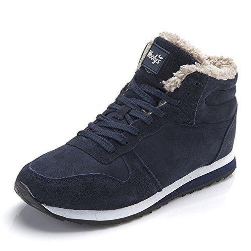 Winterschuhe Herren Damen Warm Gefüttert Boots Schneestiefel Winterstiefel Winter Sneaker Schwarz Blau 35-46 Blau 45