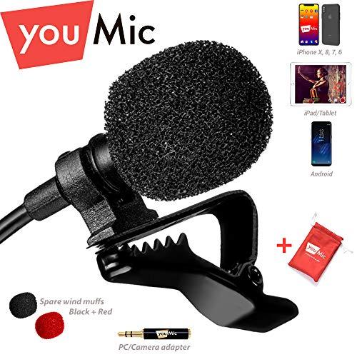 Lavalier microfono omnidirezionale con sistema Easy Clip perfetto per la registrazione YouTube/interviste/video conferenza//registratore vocale/iPhone