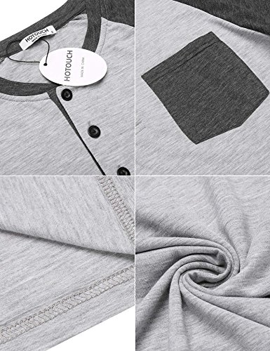 HOTOUCH Herren T-Shirt Slim Fit Basic T-Shirt mit Knopfleiste Henley Shirt Casual Shirt 3/4 Raglen-Ärmel Typ1_Hellgrau