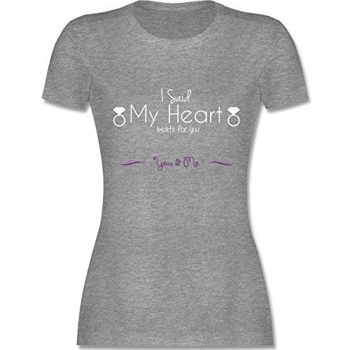 Statement Shirts I Said My Heart Beats For You tailliertes Premium TShirt  mit Rundhalsausschnitt für Damen Grau Meliert