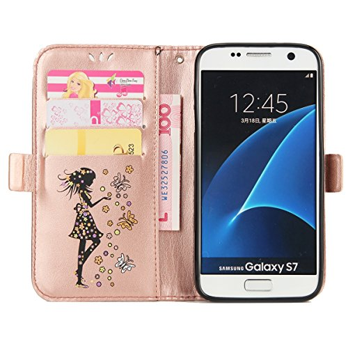 Felfy Coque Etui pour Samsung Galaxy S7,Galaxy S7 Coque Dragonne Portefeuille PU Cuir Etui,Galaxy S7 Etui Cuir Folio Housse Brun Tournesol 3D en Relief Motif Leather Case Wallet Flip Protective Cover  Fille Rose Or