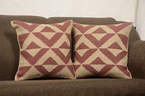 Chouhan Teppich, 2 Stück, indischer Kilim-Kissenbezug, 45,7 x 45,7 cm, Boho Ethnic Shams Jute-Kissenbezüge, Teppich Boho Shams -