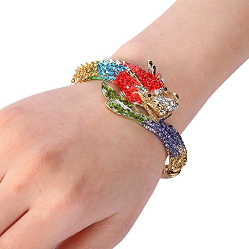EVER FAITH® Cristal Autrichien Dragon Bracelet Manchette Spécial Ton d'Or Polychrome