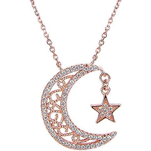 EVER FAITH® 925 Argento regalo di Natale Bling luna e stella ciondolo in oro rosa placcato collana N07257-2