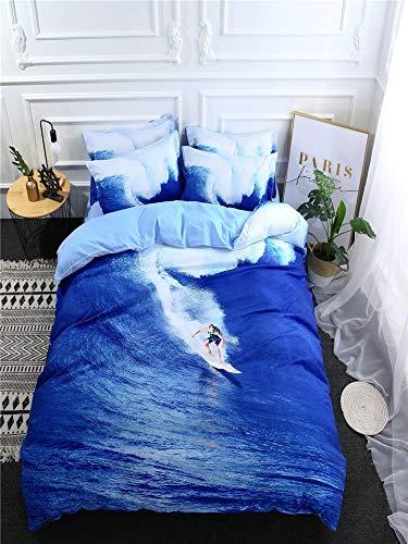 3 Stück Queen-size-schlafzimmer-set (JSDJSUIT Bettwäsche-Set 3/4 Stücke Schlafzimmer Bettbezug Set Kreative 3D Surfen Muster Weiche Gemütliche Bettwäsche, AU Doppel 3 stücke)
