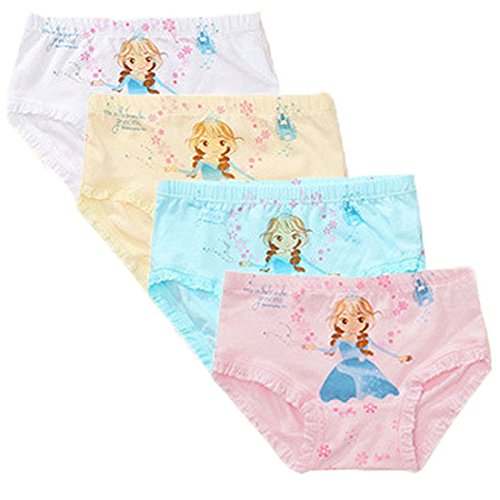 Little Girls Kids 4 Pcs Comfortable Cute Cartoon Knickers Boyshort Underwear Boxers Briefs Panties