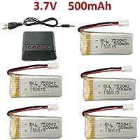 Fytoo 5pcs 3.7V 500mAh 25C Litio Batería y 5 en 1 Cargador para JJRC H31 H37 H6D Hubsan X4 FPV H107C H107D H107L H107P H108 JXD392 JXD388 JXD385 UDI U816A SYMA X5C X5SW RC Quadcopter Drone