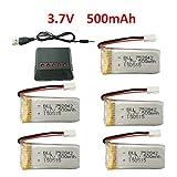 Fytoo Accessoires 5PCS 3.7V 500mah 25C batteries au lithium avec 1PCS 5 en 1chargeur pour JJRC H31 H37 H6D Hubsan X4 FPV H107C H107D H107L H107P H108 JXD392 JXD388 JXD385 UDI U816A SYMA X5C X5SW Drone Quadcopter