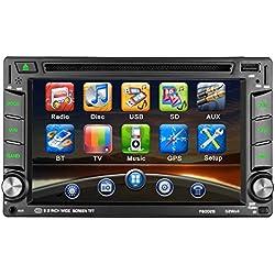 """Stéréo de Voiture LESHP 6.2""""Écran Tactile Autoradio Double / 2 GPS GPS Navigateur Win CE Bluetooth/Prise en Charge de la vidéo 1080P HD/Commande au Volant/FM / Lecteur multimédia/USB / SD/AV-Out"""