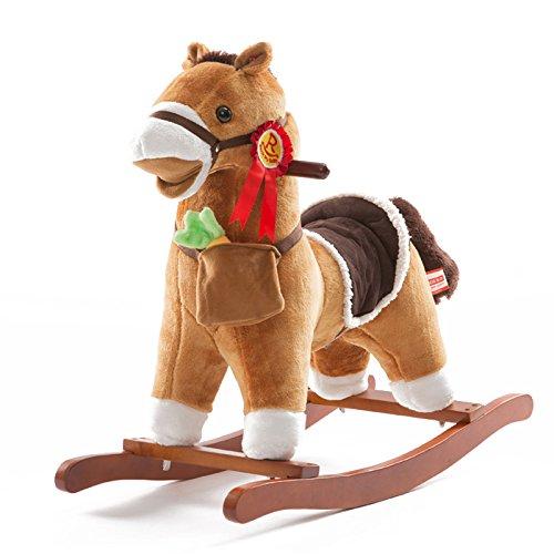 QXMEI Giocattolo del Bambino del Giocattolo del Bambino di Legno Solido del Cavallo A Dondolo del Cavallo A Dondolo dei Bambini 1-4 Anni,B