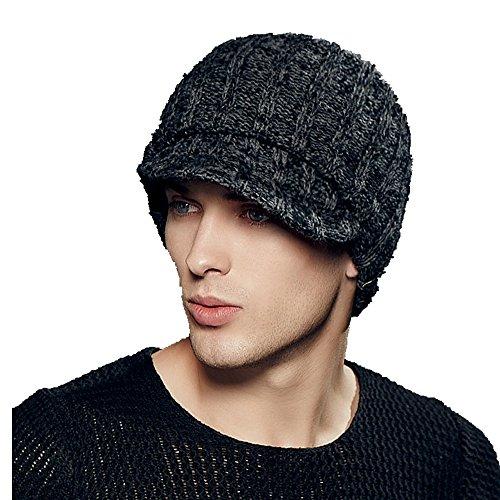 Kenmont hiver en plein air des hommes chauds earflap tricot visière chapeau pointe capuchon de masque (gris noir)