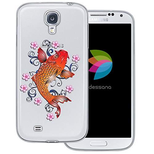 dessana Japan Transparente Schutzhülle Handy Case Cover Tasche für Samsung Galaxy S4 Japan Koi Karpfen