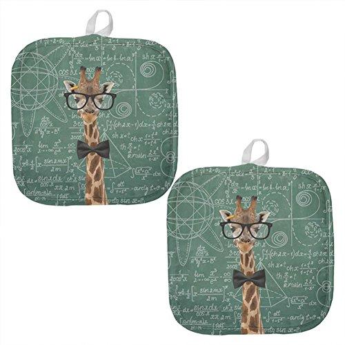 Giraffe Mathematische Geek Formeln alle über Topflappen (Set von 2), Baumwolle / Polyester, mehrfarbig, Einheitsgröße