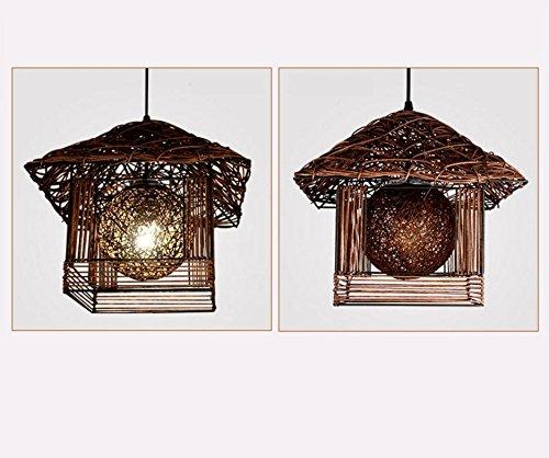 Kreative persönlichkeit kleine haus kronleuchter kronleuchter / balkon / Garten / Nest Restaurant / bambus lampe / den handarbeit Anhänger 30 * 30 CM , coffee color (send 9 watts led light source) (Home-source-bambus)