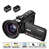 4K Camcorder Videokamera Cofunkool 1080P 60FPS WiFi 48MP 3.0 Zoll IPS Touchscreen Nachtsicht Digital Video Camcorder mit Weitwinkelobjektiv