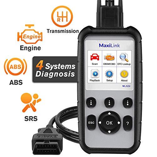 Autel MaxiLink ML629 OBD2 Diagnósticos Coche Lector de Códigos EOBD/Can/OBDII Escáner para ABS/SRS/Motor/Transmisión, con Búsqueda DTC y Prueba Lista - Versión Actualizada de ML619