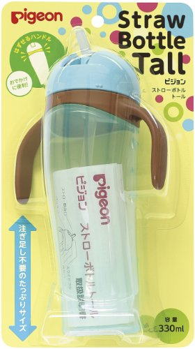 Pigeon 'Tall' Baby Training Drinking Cup Straw Bottle BPA Free for 9 Months+ (Blue) by Pigeon Blue Tall Cup