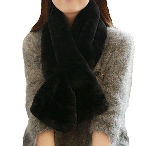 Deley sciarpe invernali donna signora ragazze carina dolce pelliccia ecologica morbidi caldo autunno foulard scarf santa presente nero
