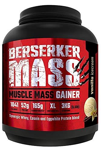 Berserker Mass Gainer // Muscle Mass Gainer Protein Pulver // Vanille eis cream // 12 Portionen // 3 kg - Pro Stärke Gainer