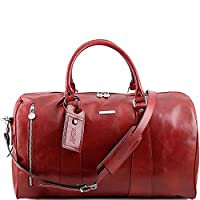 Tuscany Leather - TL Voyager - Travel leather duffle bag - Large size Red - TL141217/4