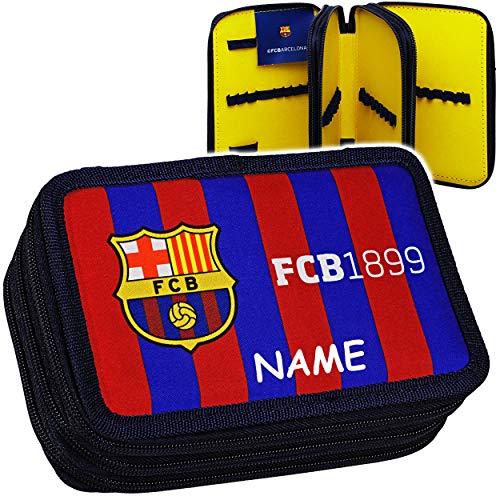 Unbekannt Federmappe / Federtasche - Fußball - FC Barcelona - FCB - inkl. Name - ohne Inhalt & leer - Triple - Schüleretui - 3 Fächer / dreifach Doppeldecker - für Kind..