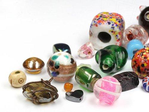 Exotic Perlen zum Auffädeln und Aufnähen  4-32mm (Color Multi Size Mix, Zweite Wahl) 100 Stück