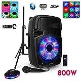 Enceinte Active Sono Mobile DJ PA Karaoké 800W USB-BT-FM-SD Support PIED Micro Télécommade + Jeux...