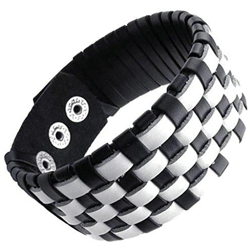 Uomo braccialetto del braccialetto polsino largamente Wrap polso intrecciato il cavo di cuoio regolabile bianco Fit 8-9 pollici di AieniD