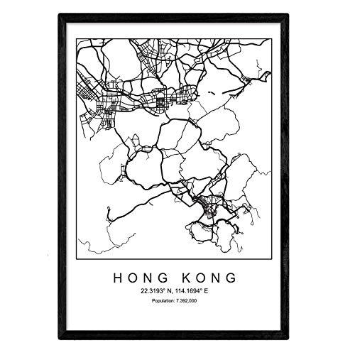 Nacnic Lámina Mapa de la Ciudad Hong Kong Estilo nordico en Blanco y Negro. Poster tamaño A3 Sin Marco Impreso Papel 250 gr. Cuadros, láminas y Posters para Salon y Dormitorio