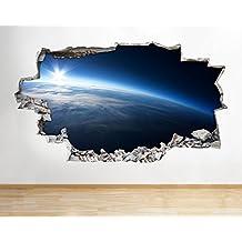 A103Tierra Espacio Luna Planetas Boys de póster para pared arte 3d pegatinas vinilo habitación (Tamaño Grande) (90x 52cm.)