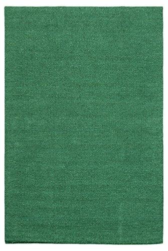 Morgenland Kelim Teppich FANCY 160 x 90 cm Brücke Grün Einfarbig Uni Kurzflor Handgewebt 100% Schurwolle Webteppich Kinderteppich Beidseitig verwendbar Für Wohnzimmer Kinderzimmer Bad Flur Indoor Outdoor - In 11 versch. Farben, Viele Größen