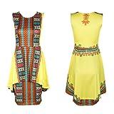 Rcool Stil für Frauen Damen Sommer Vintage traditionelle afrikanische Kleider O-Ausschnitt ärmellos Partykleid Gelb gedruckt (L)