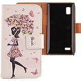 Lankashi PU Flip Leder Tasche Hülle Case Cover Schutz Handy Etui Skin Für LG Optimus L9 P760 Umbrella Girl Design