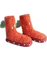 Bebé niños niñas mocasines zapatos de interior calcetines zapatillas de plumas antideslizantes calcetines de niño de