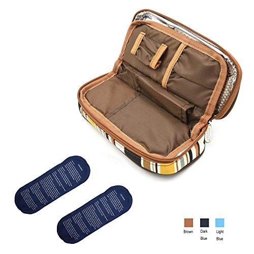 Apollowalker borsa termica per mantenere l'insulina e medicinali (marrone + 2 impacchi di ghiaccio)