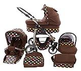 Chilly Kids Dino 3 in 1 Kinderwagen Set (Autosit & Adapter, Regenschutz, Moskitonetz, Schwenkräder) 54 Braun & Bunte Punkte