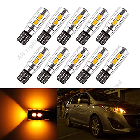 S&D 10 x T10 W5W 10SMD CANBUS OBC Error Free LED Blubs Map Light DC-12V Yellow