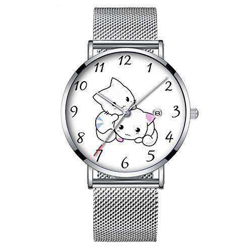 Minimalistische, modische Quarz-Armbanduhr Elite Ultra Dünn Wasserdichte Sportuhr mit Datum mit Netzband 367.Zwei niedliche Baby-Kätzchen kuscheln zusammen -